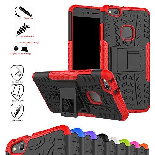 MAMA MOUTH Huawei P10 Lite Funda, Heavy Duty Silicona híbrida con Soporte Cáscara de Cubierta Protectora de Doble Capa Funda Caso para Huawei P10 Lite Smartphone,Rojo