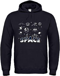 Druckerlebnis24 Sudadera con capucha – Space Erde Luna Astronomía – Sudadera unisex para niños – Niño y niña