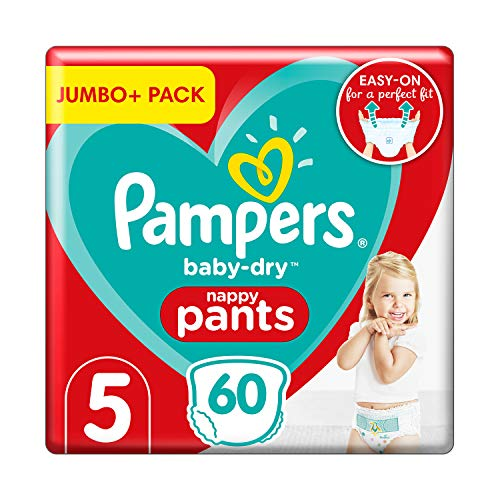 Pampers Baby Dry Pants Windeln, Größe 5 (12–17 kg), Jumbo+ Packung (60 Windelhosen)