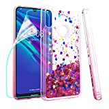 ZingCon Compatible for Huawei Y6 2019 Phone Case, Honor 8A/Play 8A Case,Glitter Bling Quicksand Adorable Shine Phone Over,Shockproof Hybrid Hard PC Soft TPU Protective (Clear/Rose-red)