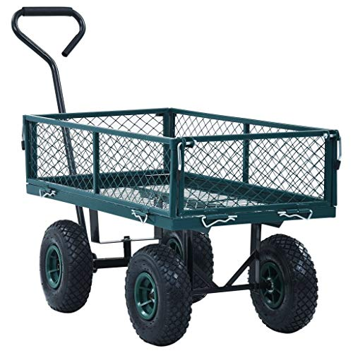 Unfade Memory Garden Wagon Hand Trolley Portable Rolling Heavy Duty Cart Buggy Green Utility Wagons (551.2 lbs)