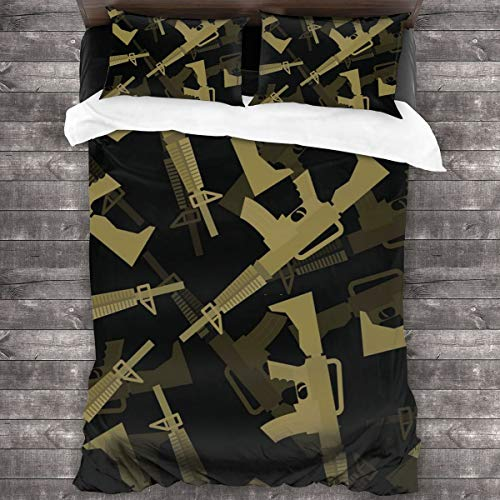 Duvet Cover Set,Military M16 Rifle Seamless Pattern. 3d Background Of Machines Gun. Army Ornament,Decorative 3 Piece Bedding Set with 2 Pillow Shams,135 * 210cm*1