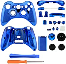 Gotor Blue Chrome Plating Repair Parts Full Housing Shell Case Accessories + Tools for XBOX 360 Wireless Controller