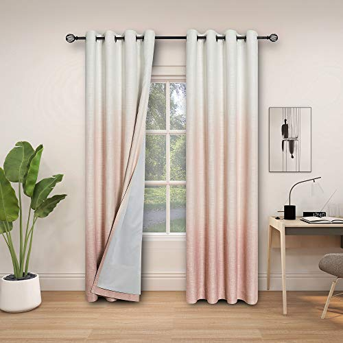"""Central Park Ombre 85% Blackout Room Darkening Window Curtains for Bedroom Drapes Heavy Linen Texture 8 Grommets Top Gradient Print Cream White to Pink Curtain for Living Room 50"""" x 84"""", 1 Piece"""
