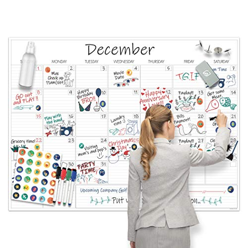 """Large Dry Erase Calendar - 36""""x48"""" Undated Erasable Monthly Calendar- Laminated Wall Calendar for Home and Office Organization"""