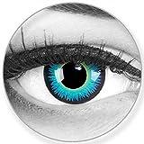 1 par de lentillas de color azul turquesa - Cómodas y perfectas para carnaval de Halloween, cosplay de anime, blandas, sin dioptrías + recipiente de lentillas, sin graduación