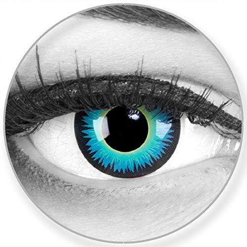 Funnylens Farbige Kontaktlinsen Seraphin in blau grün schwarz - weich ohne Stärke 2er Pack + gratis Behälter – 12 Monatslinsen - perfekt zu Halloween Karneval Fasching oder Fasnacht Anime Manga
