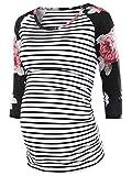 Love2Mi Damen 3/4 Seite Geraffte umstandsshirt Top Umstandsmode Kleidung, Weißer Streifen, XL