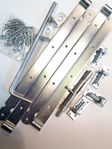 Doppeltor-Beschlagsortiment aus Stahl verzinkt Zauntorbeschlag Ladenbänder Torbeschlag Vorgartenzauntorbeschlag Doppeltor zweiflügelig von Gartenwelt Riegelsberger