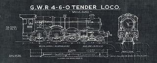 Buyartforless Train Blueprint III (in Black) 20x8 Art Print Poster Wall Decor Locomotive G.W.R 4-6-0 Tender Loco Castle Class Illustration Drawing
