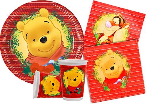 Ciao-Kit Party Tavola Winnie the Pooh Natale persone (100 pezzi piatti Ø23cm, 30 bicchieri plastica 200ml, 40 tovaglioli carta 33x33cm), Multicolore, Y4478