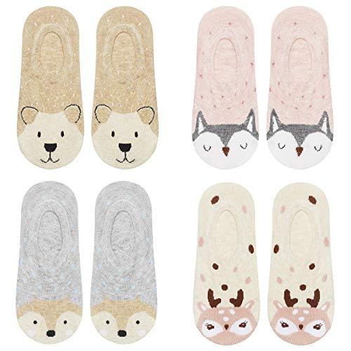 soxo Damen Unsichtbare Bunte Sneaker Socken   Größe 35-39   4er Pack   Baumwolle Kurze Füßlinge mit lustigen Motiven   niedriger Schnitt   Ideal für flache Schuhe   tolle Ergänzung für Ihre Garderobe