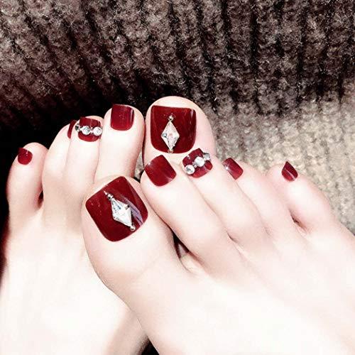 Fairvir - 24 uñas postizas para dedos de los pies, color rojo, cobertura completa, uñas falsas de acrílico para...