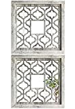 qmdecor Square Rustic Distressed White Framed Wall Decorative Mirror 12x12 inches Modern DIY Fashion MDF Wood Material Wall-Mounted Mirrors Set of 2 Pieces