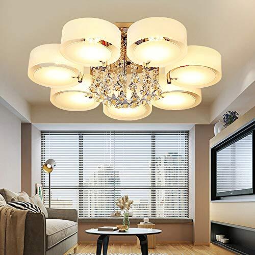 Aohuada Luxus 7 Köpfe LED RGB E27 Kristall Deckenleuchte Deckenlampe Hängeleuchte Modern Kronleuchter Dimmbar Kronleuchter, Pendelleuchte Mit Fernbedienung Wohnzimmer Kristalldekoration