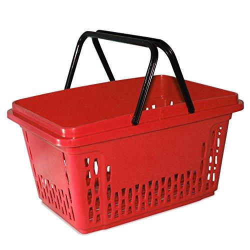 GERSO Einkaufskörbe aus Kunststoff mit 2 Bügeln 40 Liter Polypropylen Bunte Farbauswahl (1, rot)