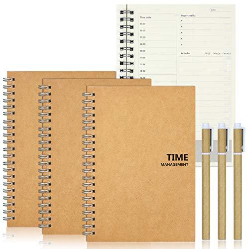 aovowog To Do List Planner Giornalieri tre TO-DO Gestione del Tempo Agenda Notebook Manuale con 50 Fogli e tre penne per Insegnante Casa Studenti Ufficio appuntamenti ed impegni