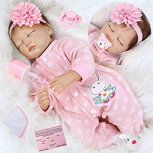 ZIYIUI Bebe Reborn Niña 22 Pulgadas 55 cm Silicona Cuerpo Completo Realista Niña Muñecas Reborn Recién Nacido Muñecas Reborn para Niños Pequeños Juguete de Regalo