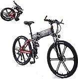 Bicicleta Eléctrica Plegable Bicicleta eléctrica de nieve, bicicleta eléctrica de montaña, bicicleta eléctrica de 26 pulgadas, equipada con una batería de iones de litio adulta 350W 36V 8A, 27 palanca
