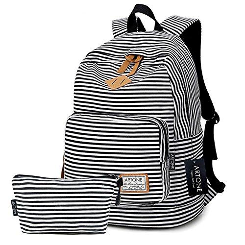 Artone Banda Grande Capacità Casual Zaino 14' Il Computer Portatile Scuola Daypack Con Astuccio Set Of 2 Nero