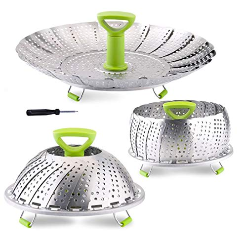 Vegetable Steamer Basket, Stainless Steel Folding Steamer Basket Insert for Veggie Fish Seafood Cooking, Expandable to Fit Various Size Pot (5.1' to 9')