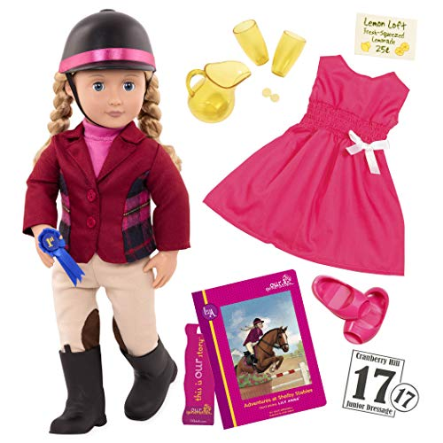 Our Generation Doll by Battat- Lily Anna 18' Deluxe Posable Equestrian Horse Riding Doll with Book & Accessories- for Ages 3 & Up
