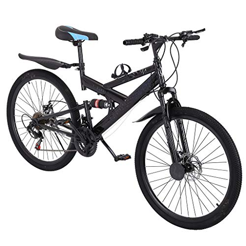 Mountain Bike, 26 Inch 21 Speed Double Disc Brake Bicycles with High Carbon Steel Frame, Full Suspension MTB, Magnesium Wheel, Free Pedals and Seats