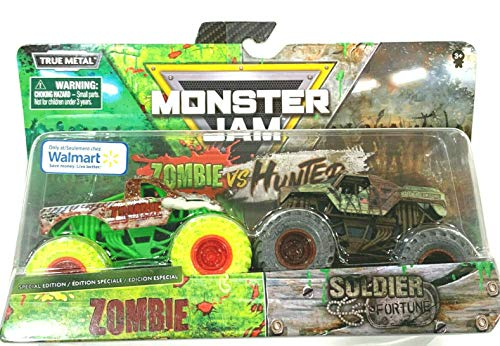 MonsterJam 2020 [Zombie vs Hunter] 1:64 Scale Double Pack Zombie Vs Soldier Fortune