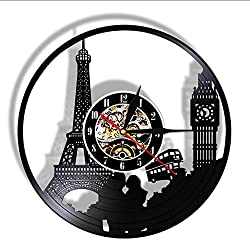 BESI Travel Themed Vinyl Record Silent Quartz Wall Clock Tower Unique Travel Landmark Retro Hanging Watch