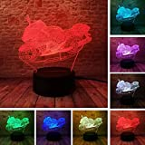 3D Illusion Lamp Motorcycle Illusion Desk Light Novelty USB LED Table Lamp 100~240v Night 7 Color Touch Switch Change LED Desk Table Light lamp (Color: Multicolor)