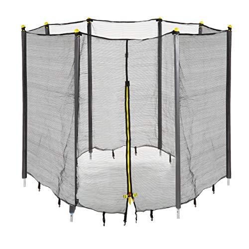 Relaxdays Unisex jeugd trampoline net, vangnet voor tuintrampoline, met 8 gevoerde stangen, veiligheidsnet, Ø 427 cm, zwart