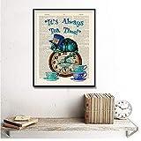 chthsx Dictionary Art Gemälde Alice im Wunderland Cat Home