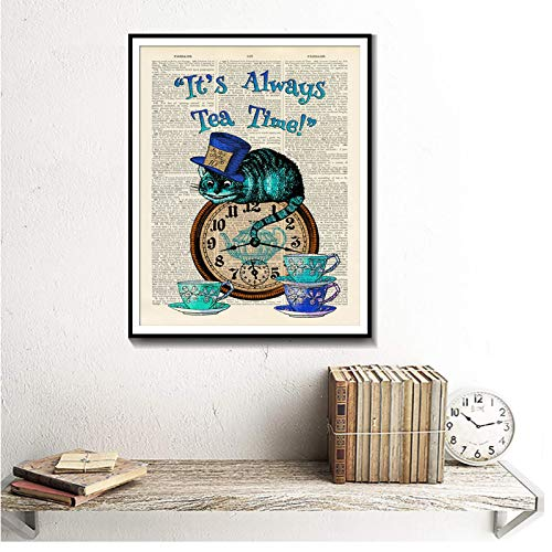 chthsx Dictionary Art Gemälde Alice im Wunderland Cat Home Decoration Poster und Drucke Leinwand Gemälde 70x100cm No Frame