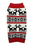 Lanyar Ugly Vintage Knit Xmas Reindeer Holiday Festive Dog Sweater for Dogs, Medium M Size