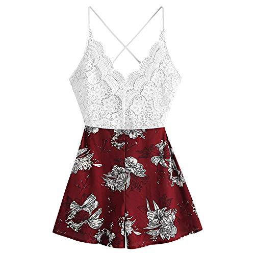 ZAFUL Conjunto de camiseta y pantalones cortos para mujer con estampado floral Jujube rojo. L