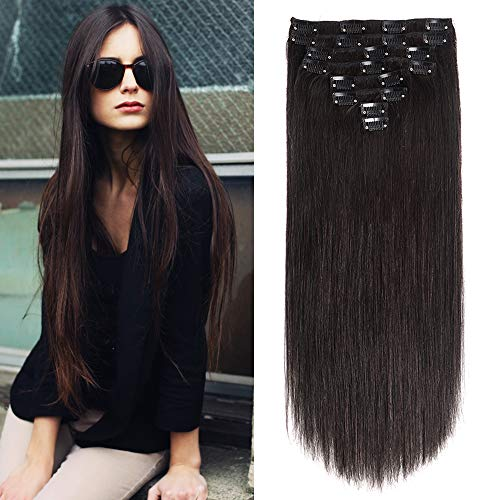 Clip in Human Hair Extensions 24' 120G Virgin Hair Clip on Hair Extensions Grade 8A Silky Straight Human Hair Natural Black Double Weft 8pcs/Lot 120g (24inch 1B Nature Black)