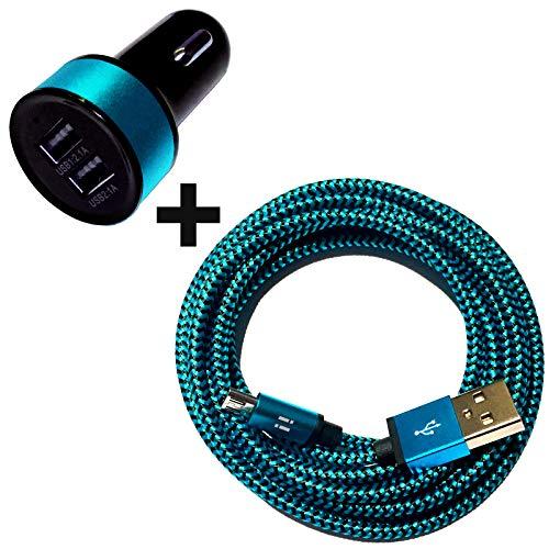 i! - Oplader + nylon micro USB-oplaadkabel datakabel set voor mobiele telefoon tablet smartphone - kleurrijk 50cm KFZ blau