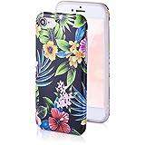 QULT Fleurs Design Coque Compatible avec iPhone Se 2020, iPhone 7/8 Bumper Noir Mat Slim Motif Case Silicone avec Dessin Fleurs de la Nuit