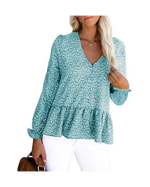 SAIKESIGIRL Womens Floral Button Down Long Sleeve Blouse Peplum Loose Tunic Shirt Light Blue