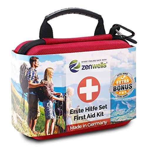 Erste Hilfe Set Wandern, Outdoor, Fahrrad & Reise Zubehör für die Erstversorgung der häufigsten Notfälle nach DIN 13167 - First Aid Kit für Deine Sicherheit