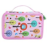 72 Slot Pencil Case Large Capacity Studente Stampato Penna Sacchetto Cane Zipped Pouch Box Disegno Sketch Brush Holder(Pink)