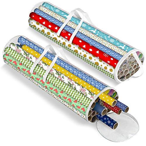 Geschenkpapier Aufbewahrungstasche Klarsich für Weihnachtspapier, ordentlicher und ordentlicher Organizer aus starkem Kunststoff und komfortable Griffe für den Transport von Geschenkpapier (2 Pack)