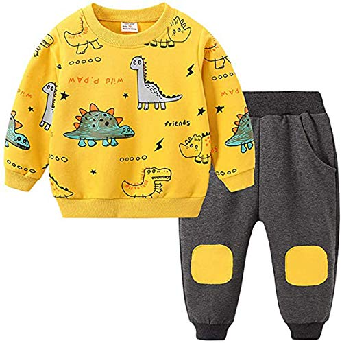 Baby Jungen Bekleidungssets Outfits Set, 1-6 Jahre Kleinkind Baby Boys Cartoon Dinosaurier gedruckt Langarm Tops + Hosen Pyjamas Kleidung Sets für Kinder