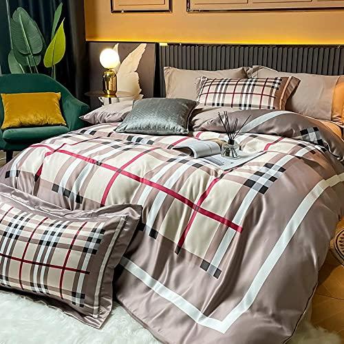 Funda De EdredóN De Cuna,La versión AB de la lavado de agua 4 piezas, las hojas de estilo del norte de Europa, la funda de almohada, se pueden lavar contra el regalo de suministros para camas indolor