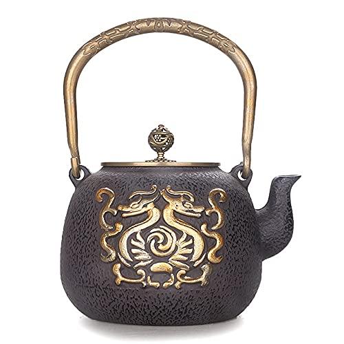 Tetera de kungfu de hierro fundido japonés, tetera, tótem, dibujo de cobre doble, tetera de agua hervida recubierta hecha a...