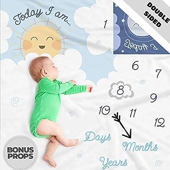 Baby Monthly Milestone Blanket Boy Bonus Ruler Frames Bow Tie /& eBook Best Baby Shower Gift for Mom Large /& Soft Fleece Newborn Photography Background Blanket for Boy or Girl
