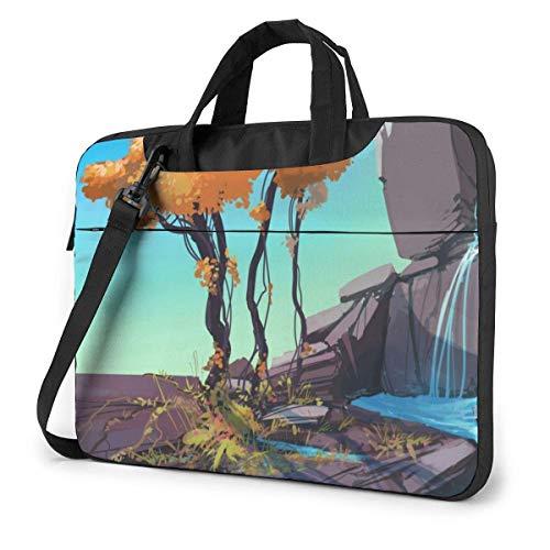 Bolsa de Hombro para computadora portátil Estuche para computadora portátil, Funda para computadora con Paisaje de Dibujos Animados, Bolsa Protectora para maletín de Negocios
