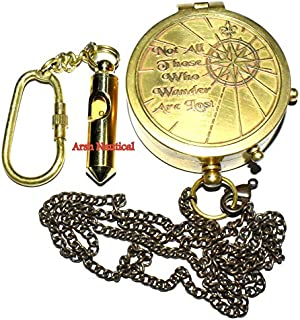Arsh Nautical Solid Brass Compass J. R. R. Tolkien Quote Free Keyring A