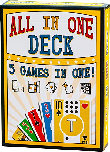 All in One Deck - Hundreds of Games in One Deck of Cards with Free Card Game eBook. Waterproof White PVC Plastic Playing Cards with Dominoes, Letter Games, Scrabble, Matching & Travel Bingo