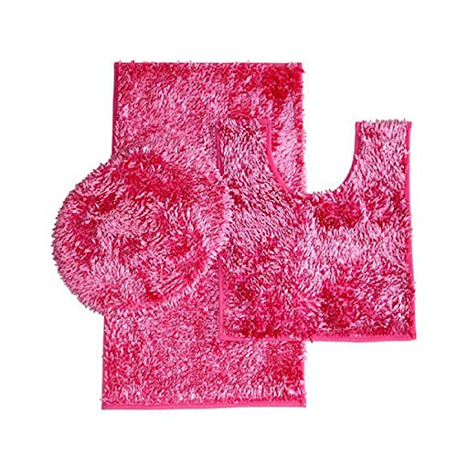 """Simple Elegance 3 Piece Shiny and Shaggy Chenille Bath Rug Set with Anit-Slip Backing: 1 Bath Rug (18"""" x 30""""), 1 Contour Mat (18"""" x 18"""") and 1 Toilet Seat Cover (APX 18"""" x 18"""") - Pink"""